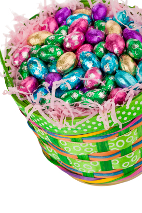 foil wrapped chocolate eggs on a basket